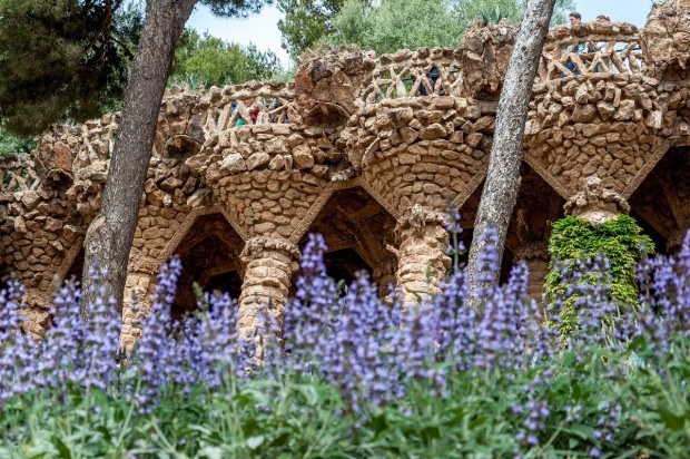 Pillars with flowers in Park Guell, Barcelona.