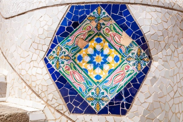 Tiles in Barcelona's Park Guell by Antoni Gaudi.