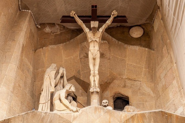 The crucifix at Sagrada Familia in Barcelona.