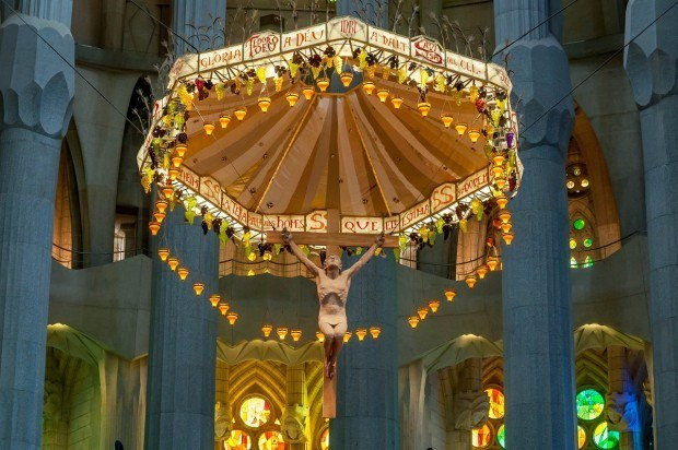 The unusual hanging altar of the Sagrada Familia in Barcelona.