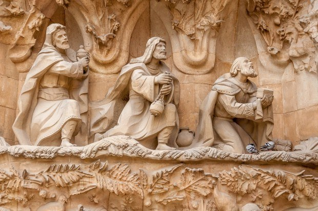 The Three Wise Men at the Sagrada Familia in Barcelona.