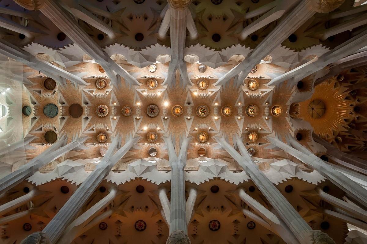 The ceiling of Sagrada Familia in Catalonia.