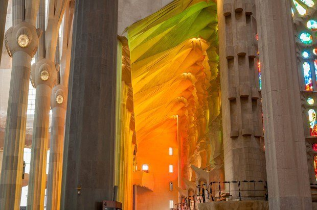 The interior of Gaudi's Sagrada Familia.