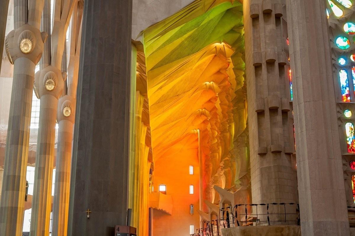 The interior of Gaudi's Sagrada Familia.