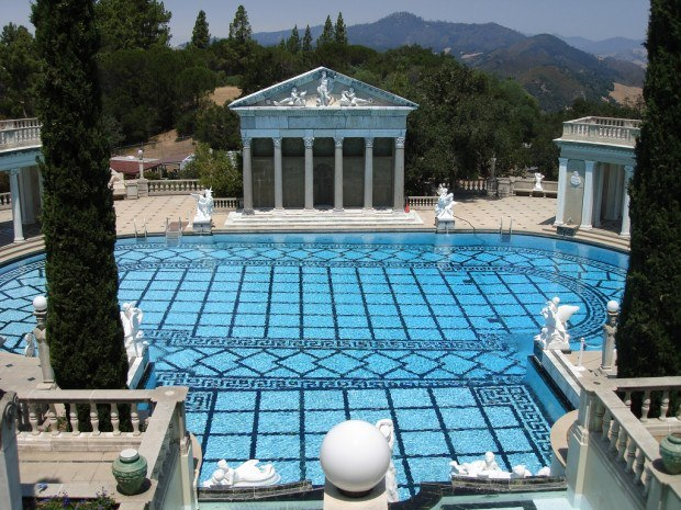 The Neptune Pool at Hearst Castle in San Simeon.  If you are wondering what to do in Cambria California, the Hearst Castle should be at the top of your list.