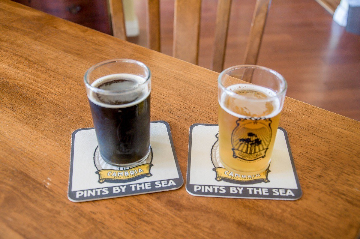 Two glasses of beer at the 927 Beer Company (formerly the Cambria Beer Company)