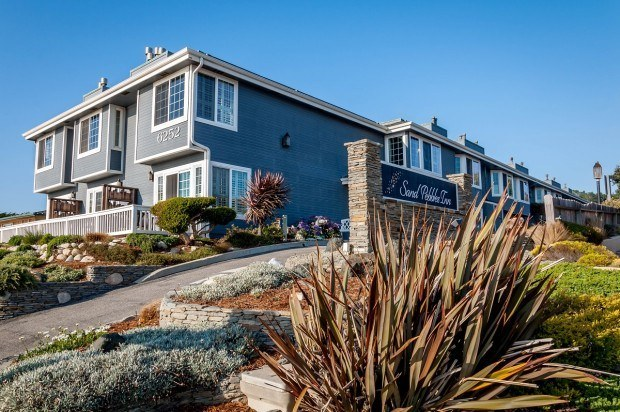 The Sand Pebbles Inn on Moonstone Beach in Cambria, California.  There are a lot of great Cambria Inns and hotels, but this was our pick for where to stay in Cambria.