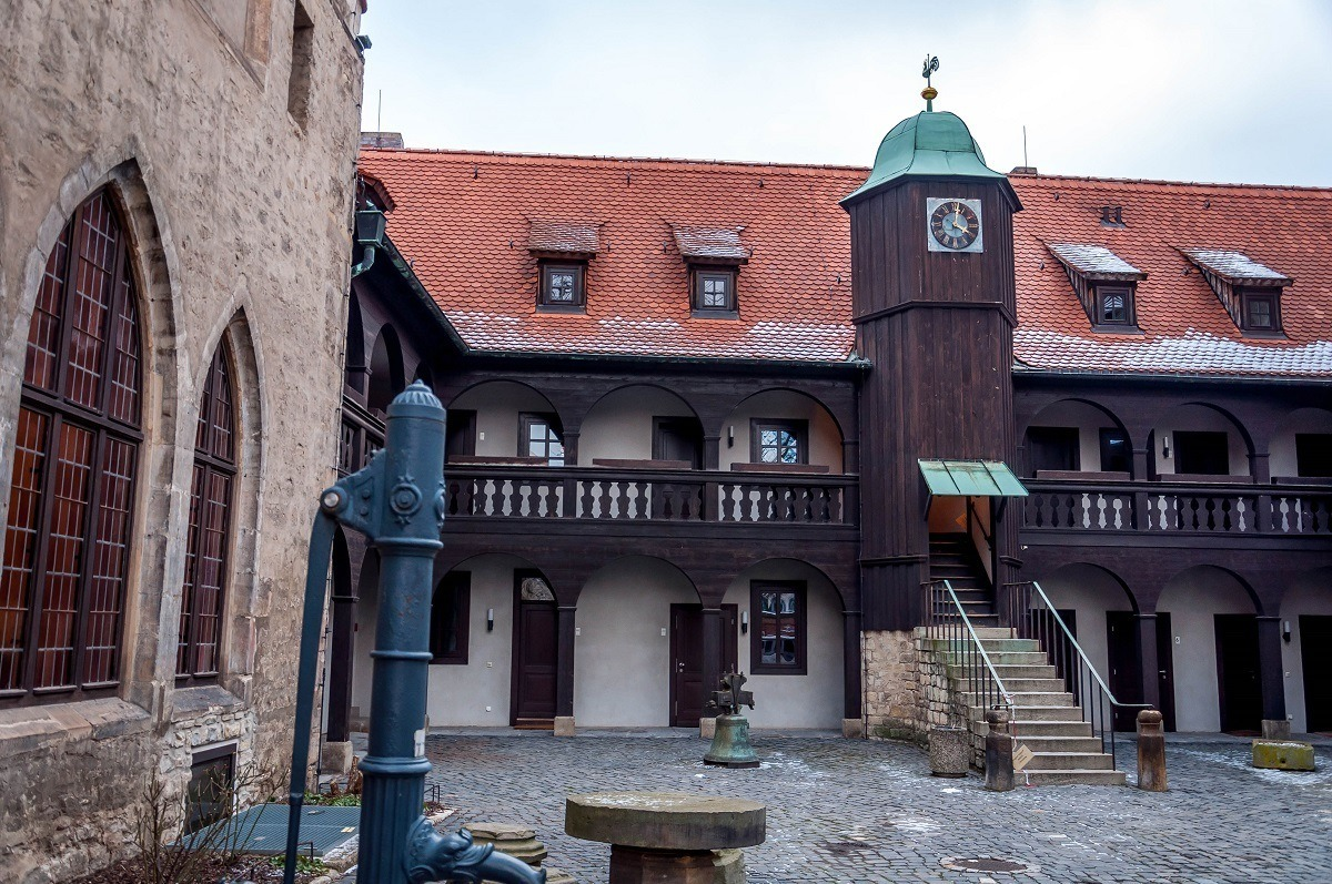 The Augustinian Monastery in Erfurt with the water pump where Luther got water