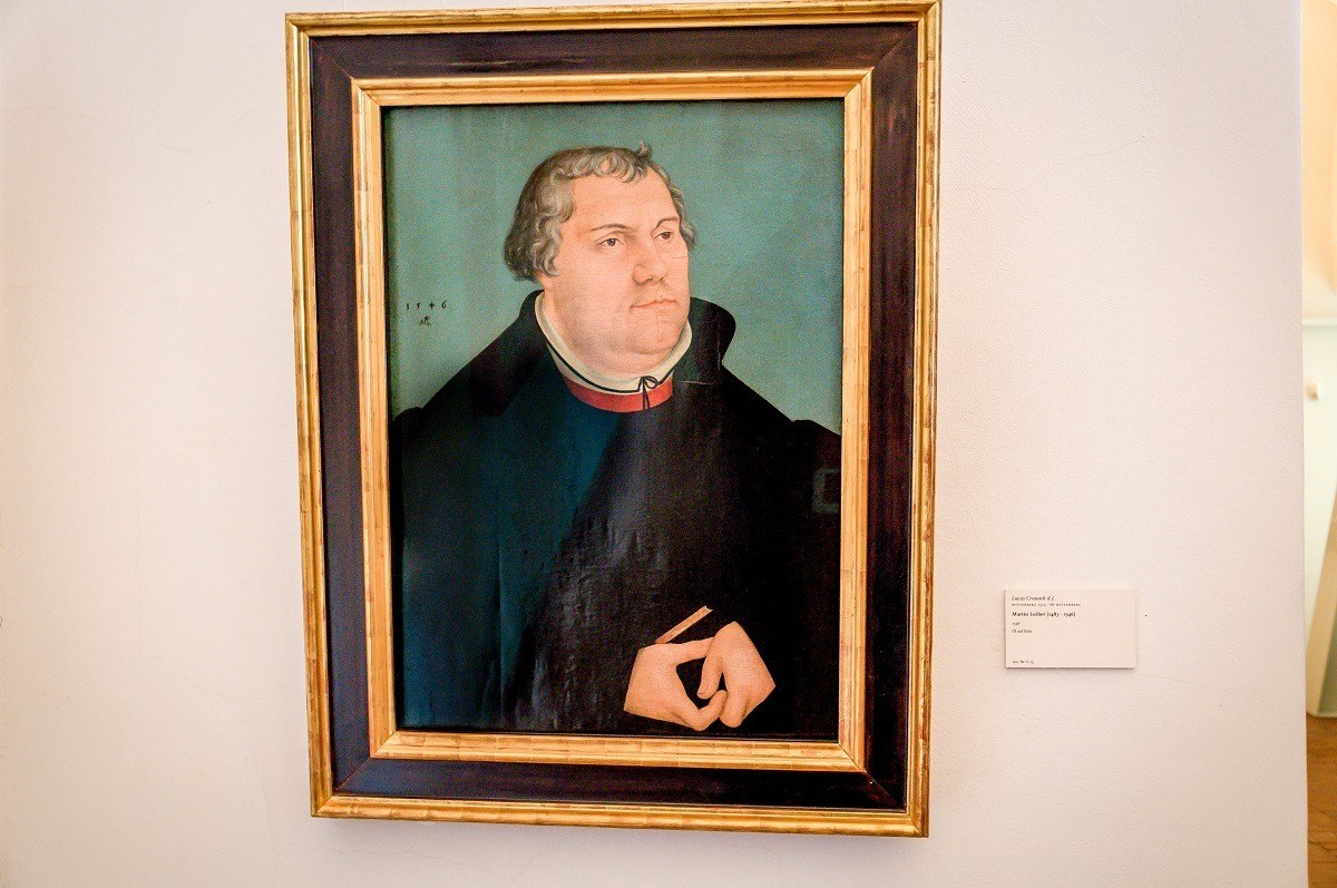 A portrait of Martin Luther by Lucas Cranach in the Weimar Palace