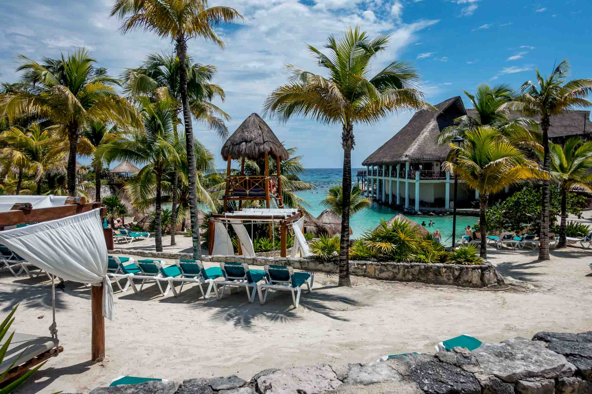 The beach area of the Occidental at Xcaret Destination, a resort hotel just 5 minutes from Xplor