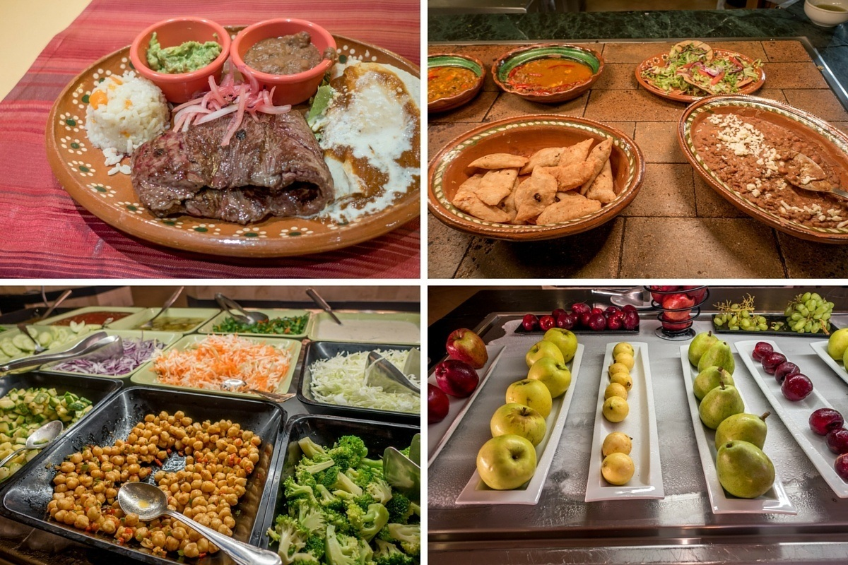 Food from the restaurants at the Barcelo Xcaret resort