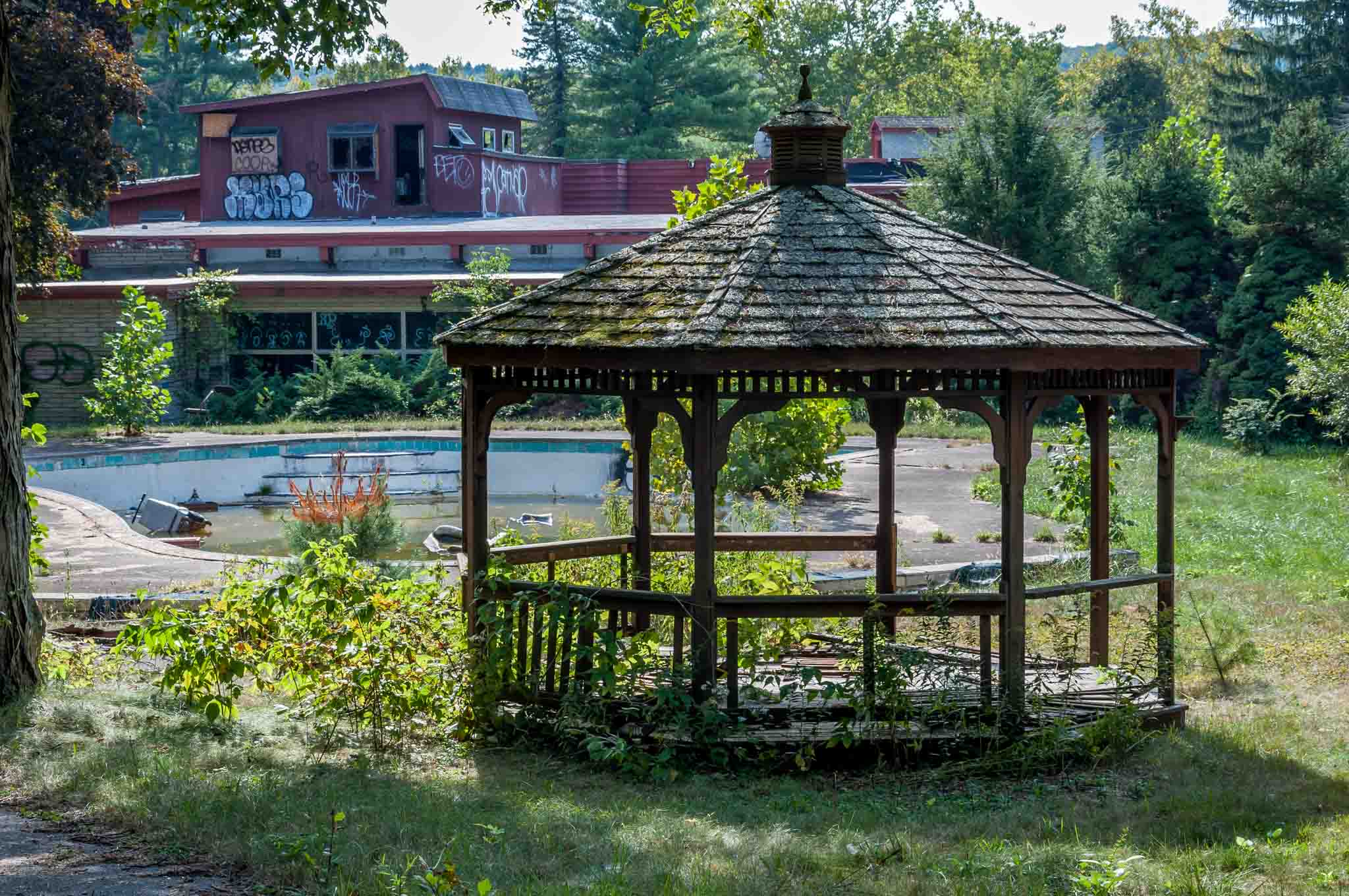 A gazebo at one of the abandoned resorts in Pennsylvania.
