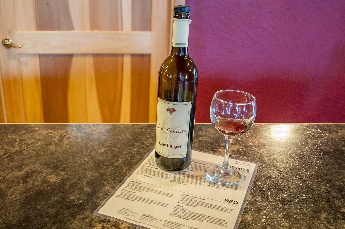 Courtyard Winery has two tasting bars -- one for sweet wines and one for dry. It is one of our favorite wineries in the Lake Erie Wine Country.