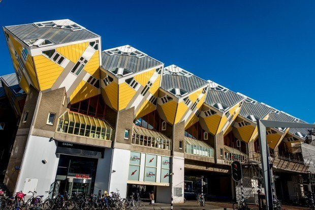 The Cube Houses in Rotterdam, Netherlands, are built on a 55-degree angle. Rotterdam architecture can be unusual and eclectic, and it's always eye-catching.