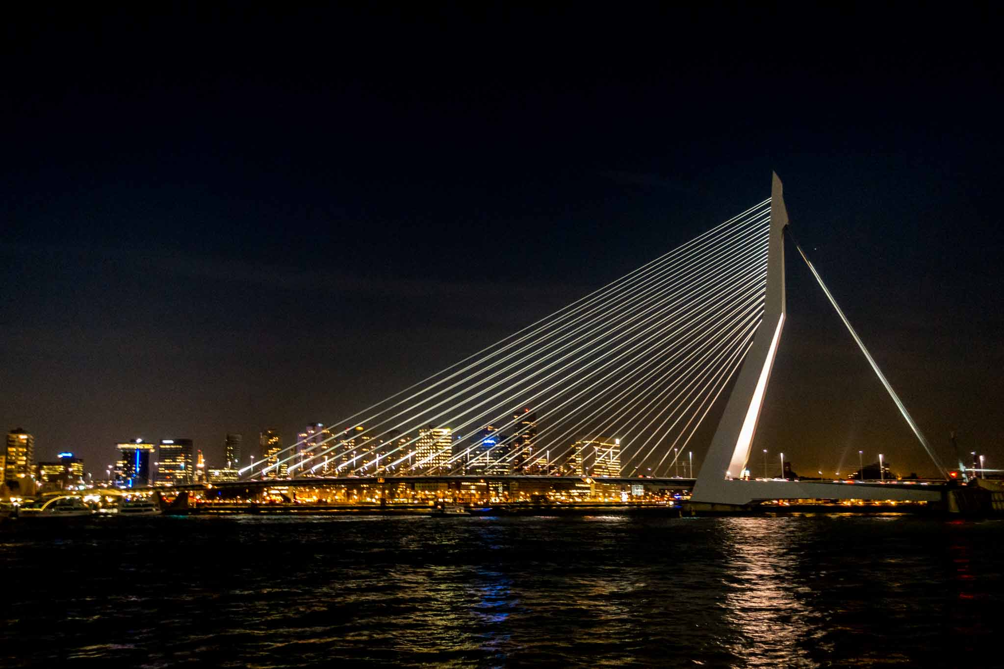 Erasmus Bridge, an angular white bridge, lit up at night with Rotterdam in the distance