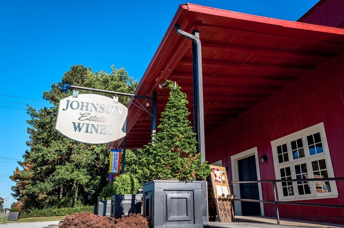 Red building and sign for Johnson Estate Wines