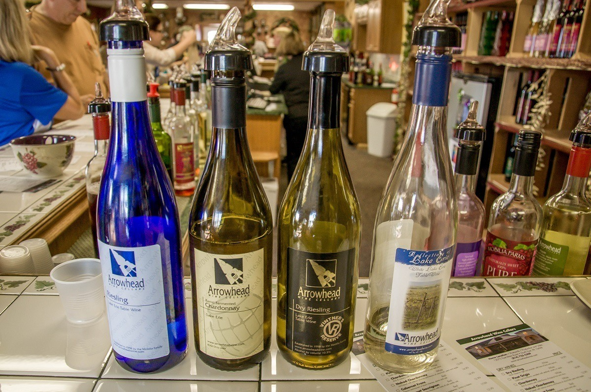 Arrowhead Wine Cellars, one of the wineries in Lake Erie Wine Country, has a broad selection from which to choose