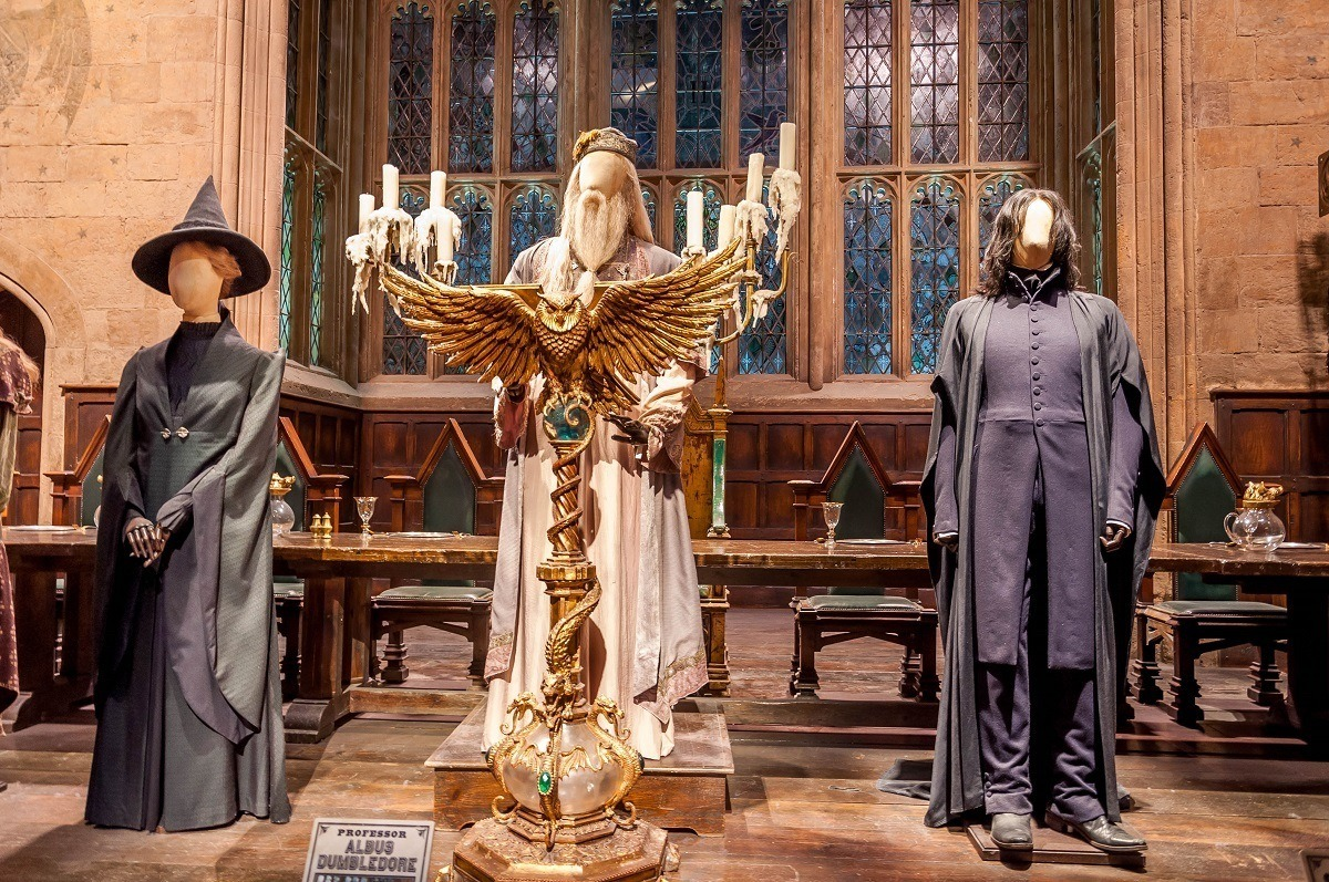 The Professor's costumes are on display in the Hogwarts Great Hall.