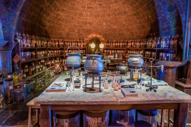 The potions classroom at Hogwarts School of Witchcraft and Wizardry.