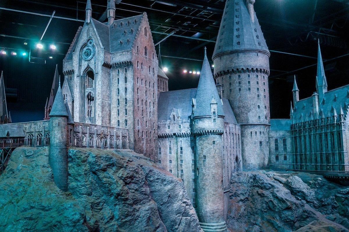 The massive Hogwarts Castle model in Studio K on the Harry Potter London studio tour.