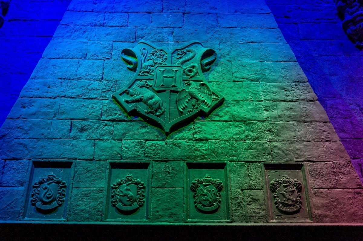 The fireplace in the Hogwarts Great Hall.
