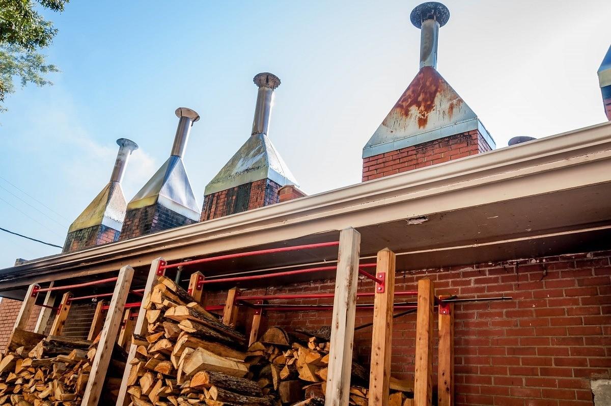 The smokestacks and wood of Lexington Barbecue in Lexington, North Carolina