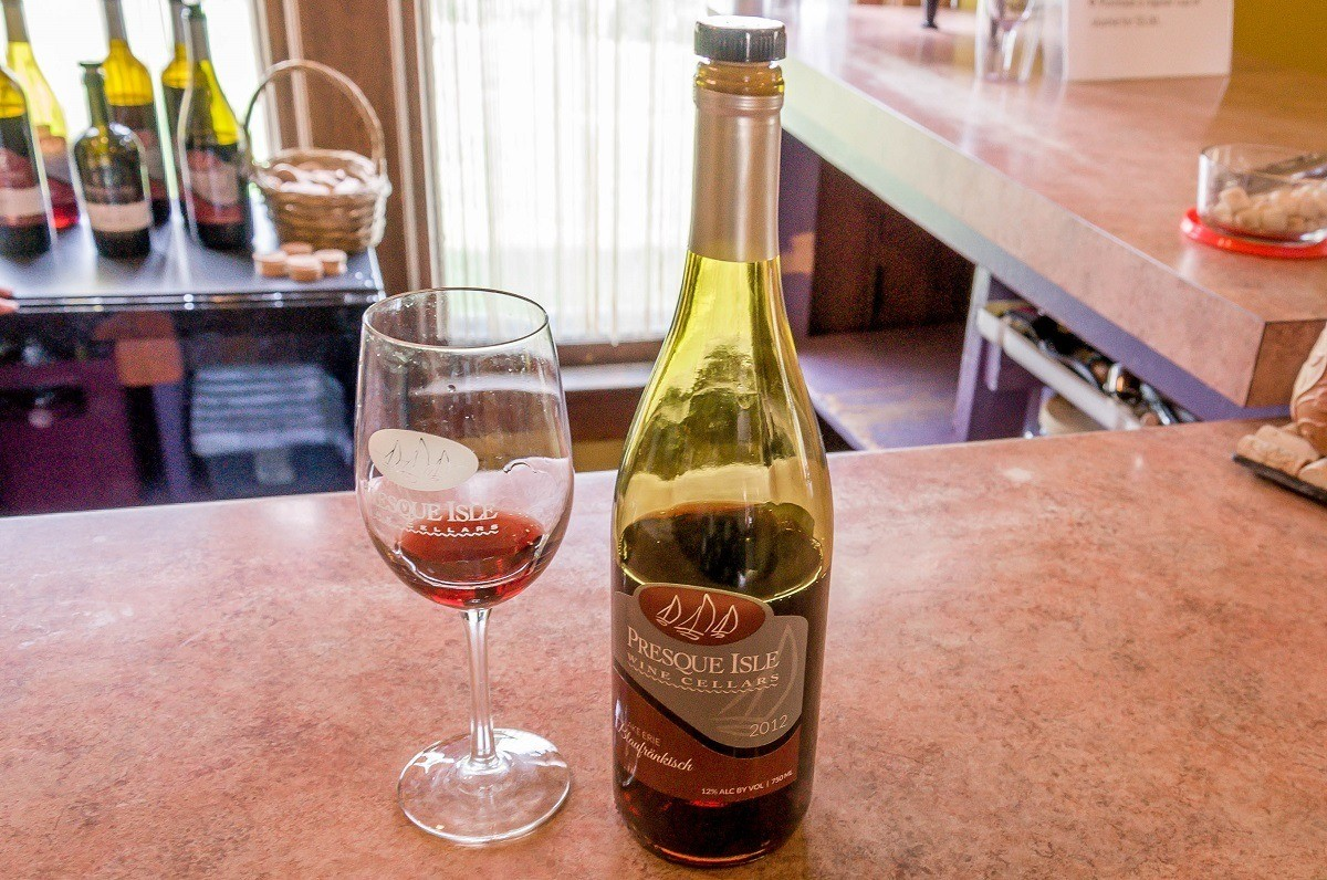 Wine bottle and glass at Presque Isle Wine Cellars' in Erie