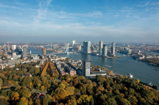 The skyline of Rotterdam, Netherlands. After being bombed during World War II, this intriguing city focused on modern architecture.