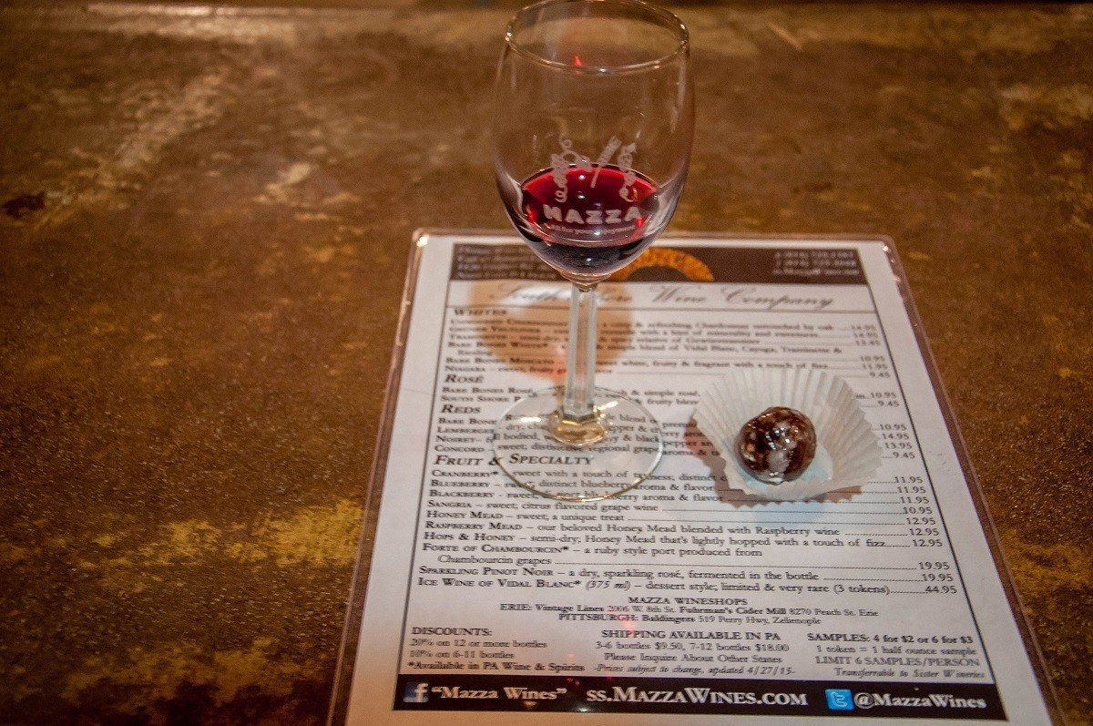 Delicious port and chocolate at the South Shore Wine Company in North East, PA