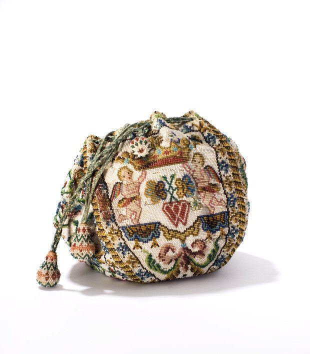 One of the beautiful 18th century glass bead bags on display at the Museum of Bags and Purses in Amsterdam