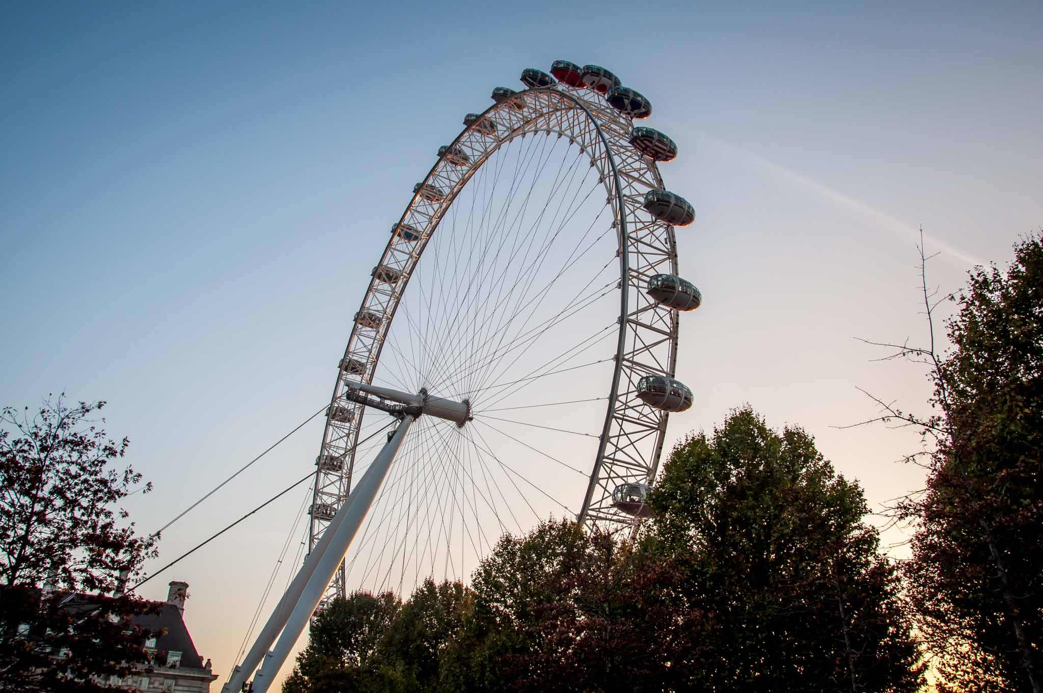 The London Eye, an icon on London's South Bank of the Thames River.