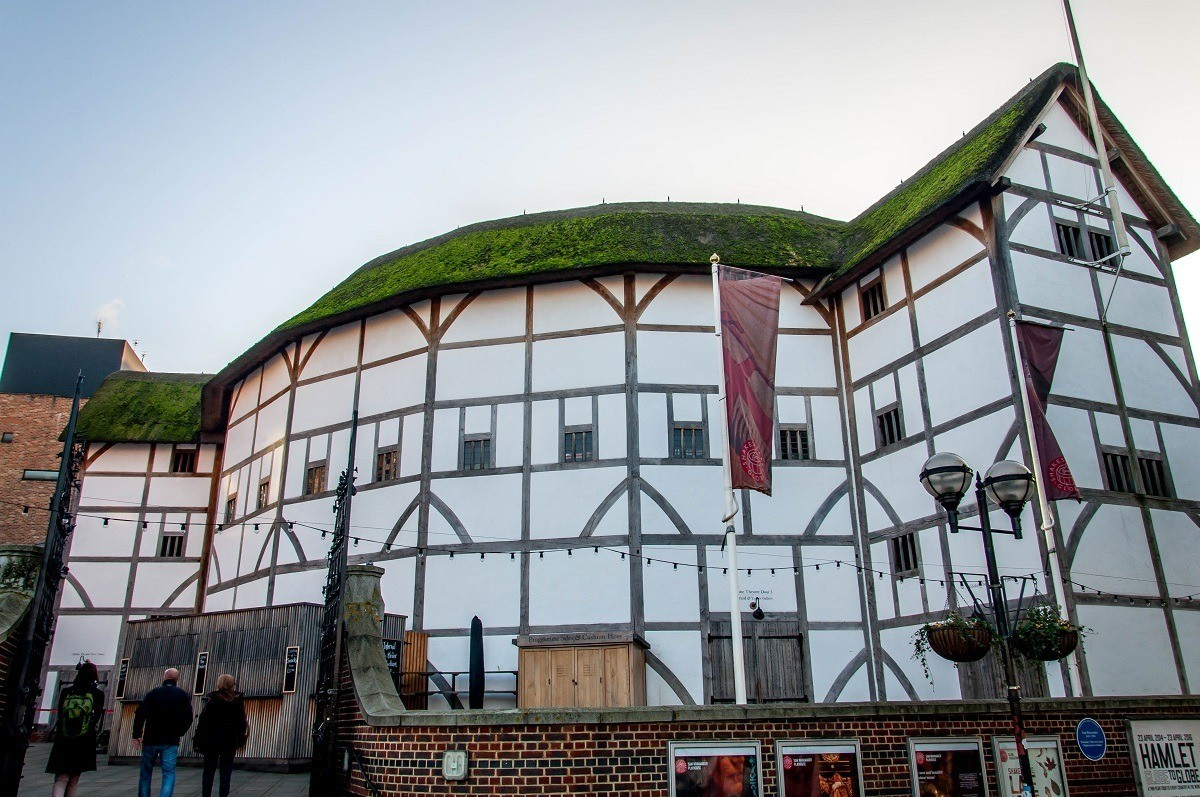 Shakespeare's Globe Theater in London on the South Bank of the Thames River.