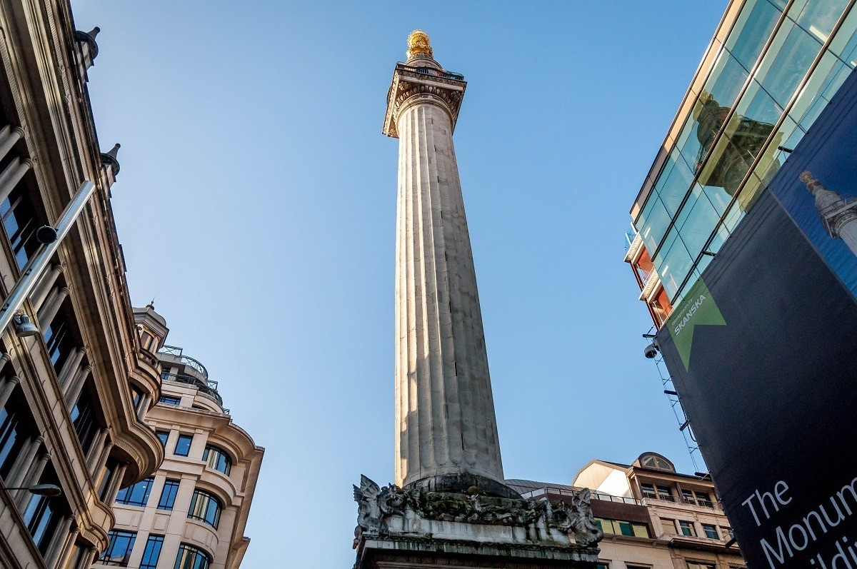 The Monument to the Great Fire, one of the first stops on our London Walking Tour.