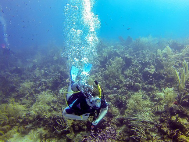 Laura scuba diving in the clear water of the Caribbean.