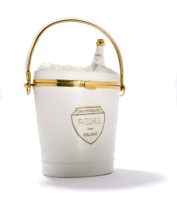 Champagne bucket handbag on display at Amsterdam's Museum of Bags and Purses