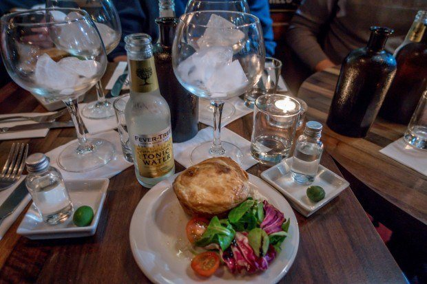 Gin & tonic, plus meatpie at The London Gin Club.