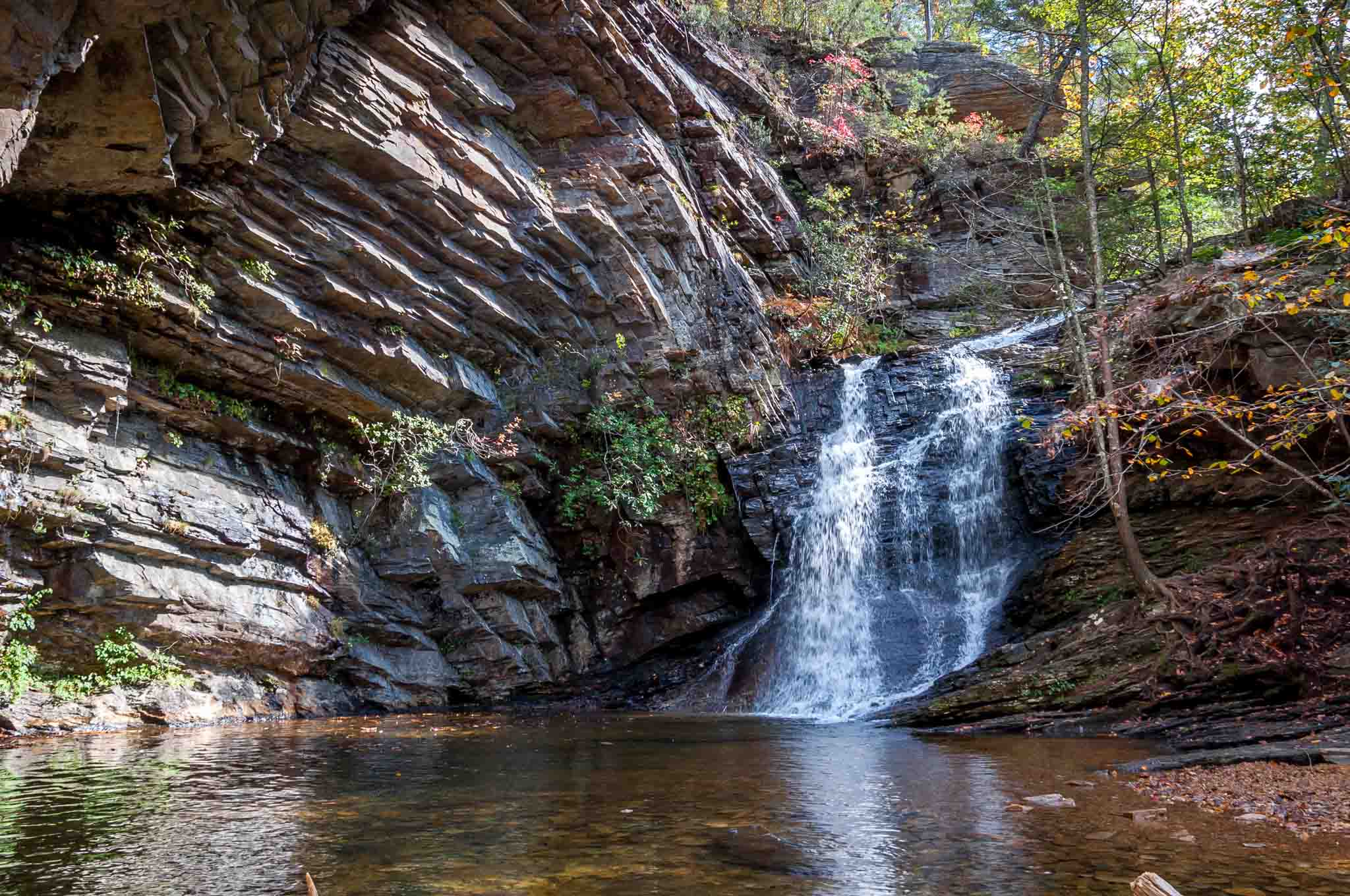 The beautiful Lower Cascades Falls in North Carolina's Hanging Rock State Park is an easy hike