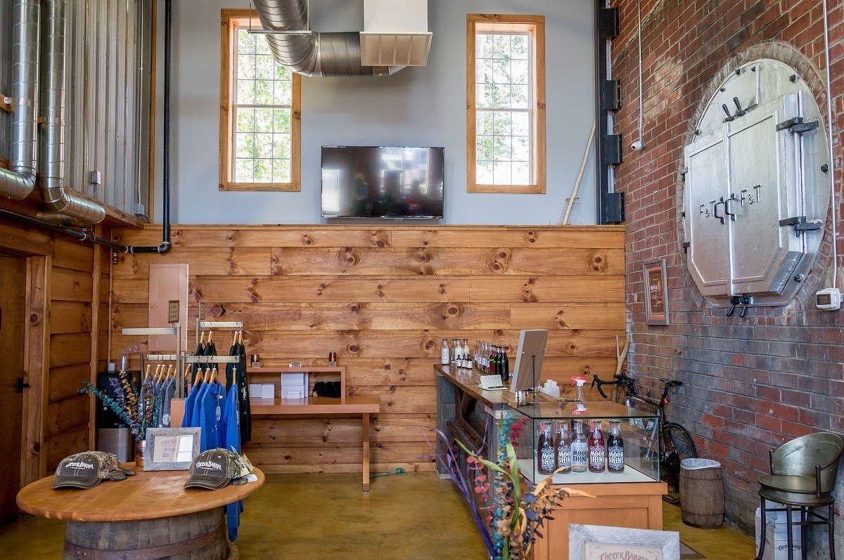 The gift shop and tasting room of the Copper Barrel Distillery