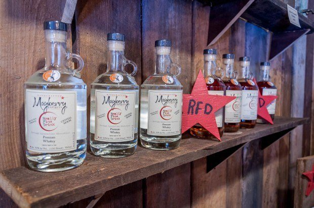 Mayberry Spirits' moonshine is made from sorghum syrup. This new distillery in Mount Airy, North Carolina, is named after the town's alternate moniker, Mayberry, because it's where Andy Griffith grew up.