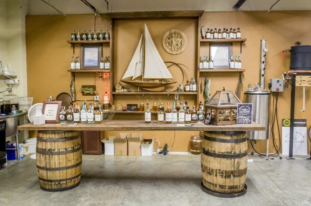Muddy River Distillery's tasting bar in Belmont, North Carolina. Today, there are over 40 legal North Carolina distilleries.