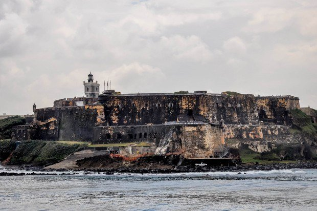 View of Castillo San Cristóbal in San Juan, Puerto Rico from the water