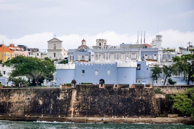 The rampart walls of Old San Juan, Puerto Rico. The fortifications are one of the top things to do in Old San Juan Puerto Rico.