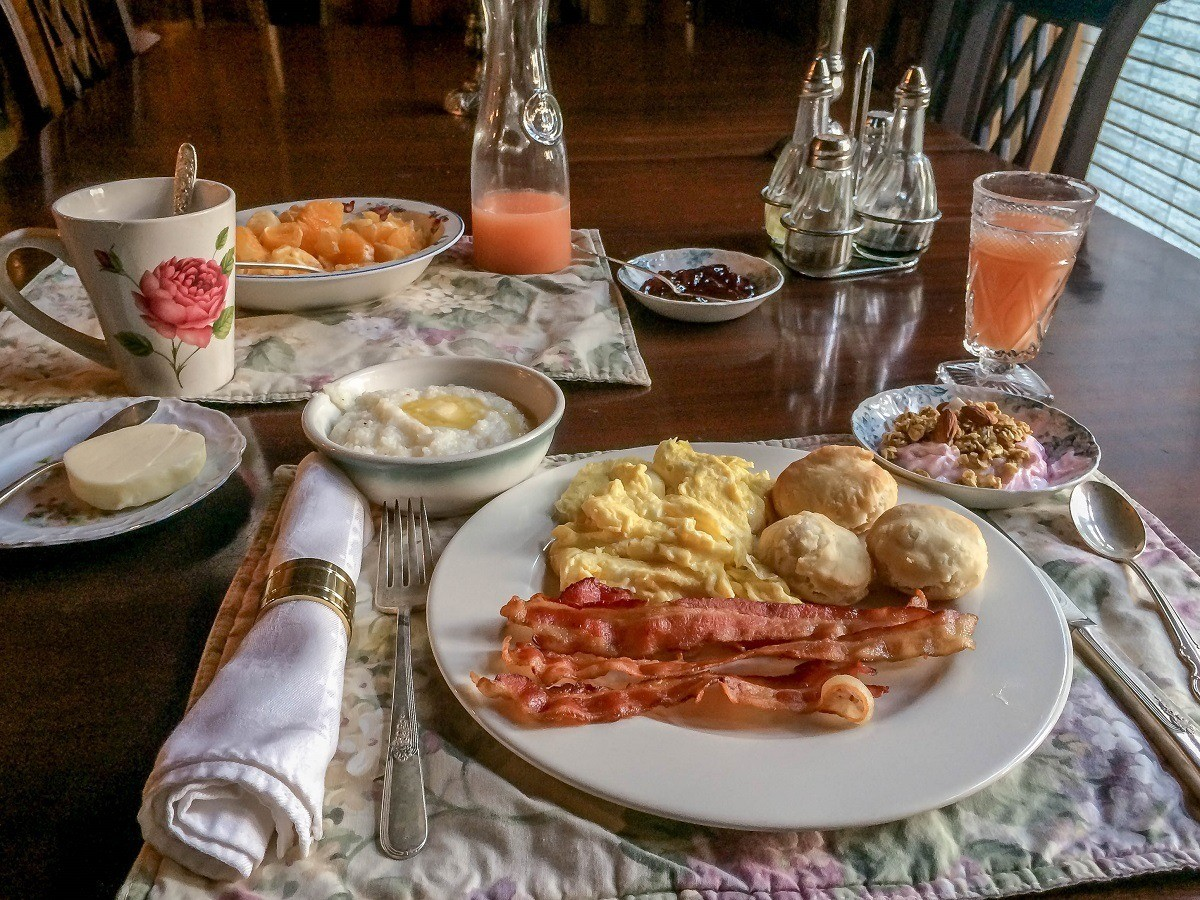 The extensive breakfast at the Singletree Gun and Plough is only one of the things to love at this great Norht Carolina retreat