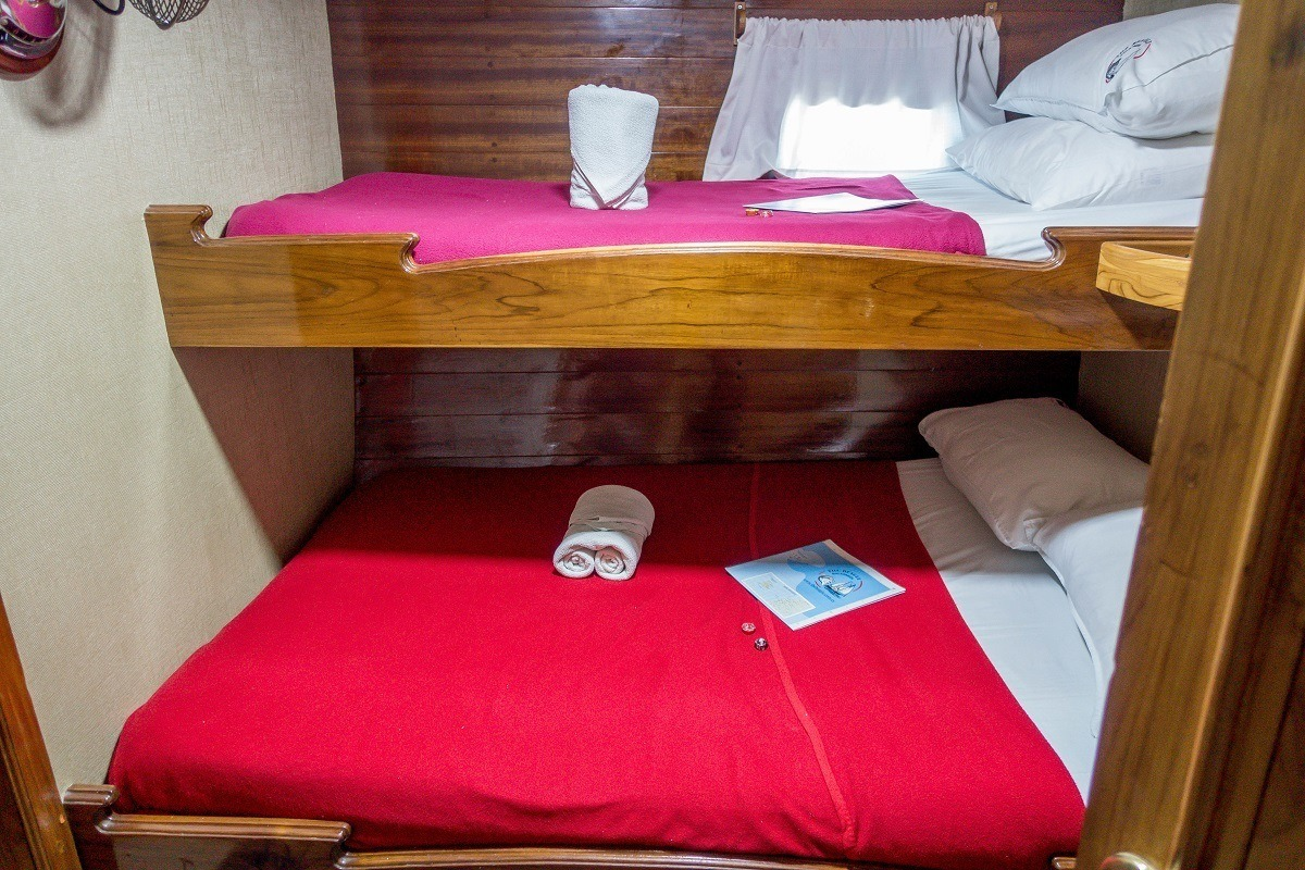 The Beagle in the Galapagos has bunk-style beds in the staterooms.