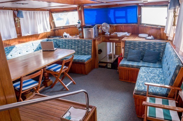 The interior lounge and sitting area on the Beagle, a first class Galapagos cruise boat.