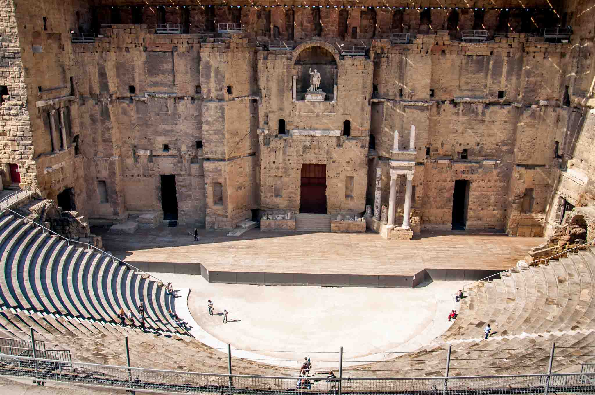 Stage and semi-circular seating at the ancient Theater of Orange