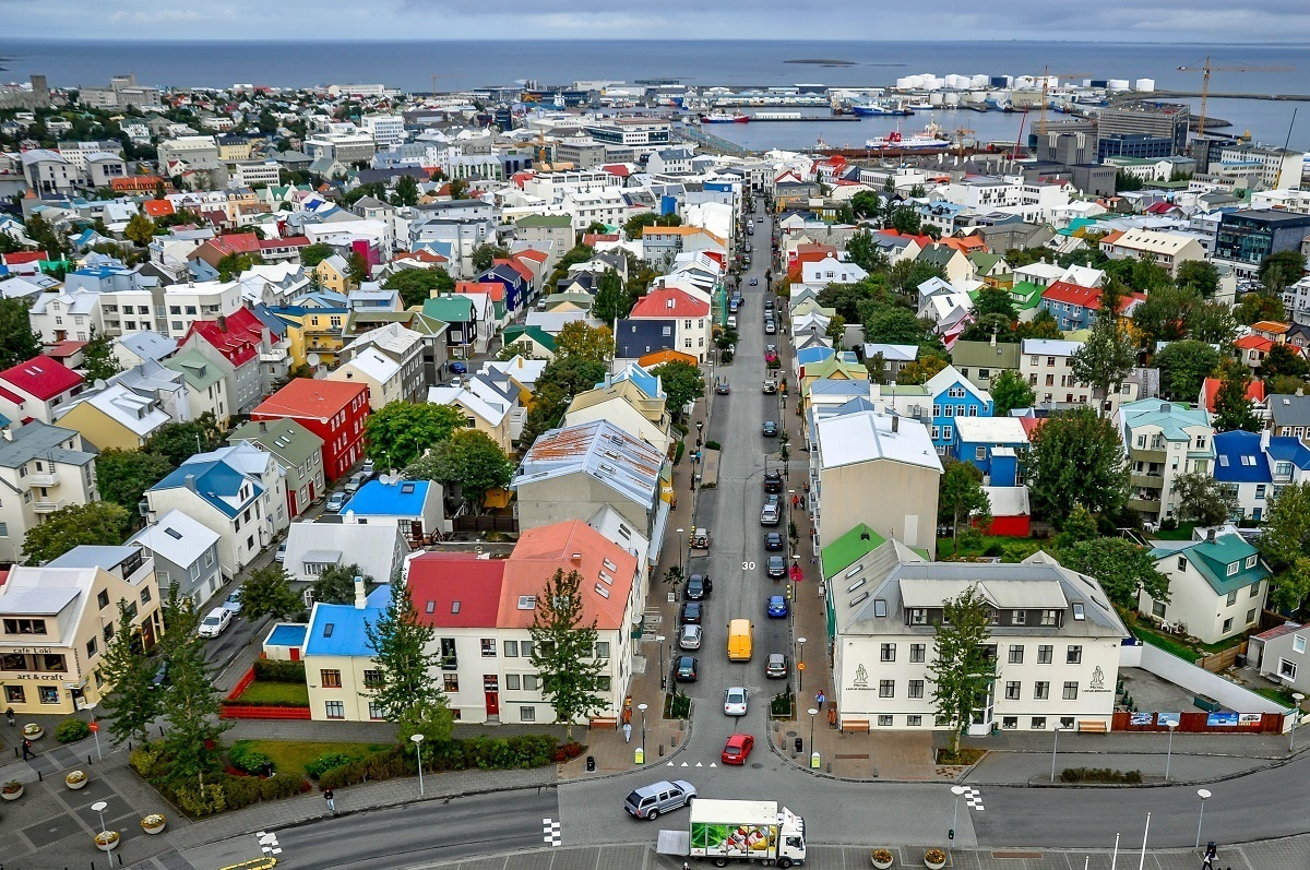 View of downtown Reykjavik from the top of Hallgrimskirkja church tower.