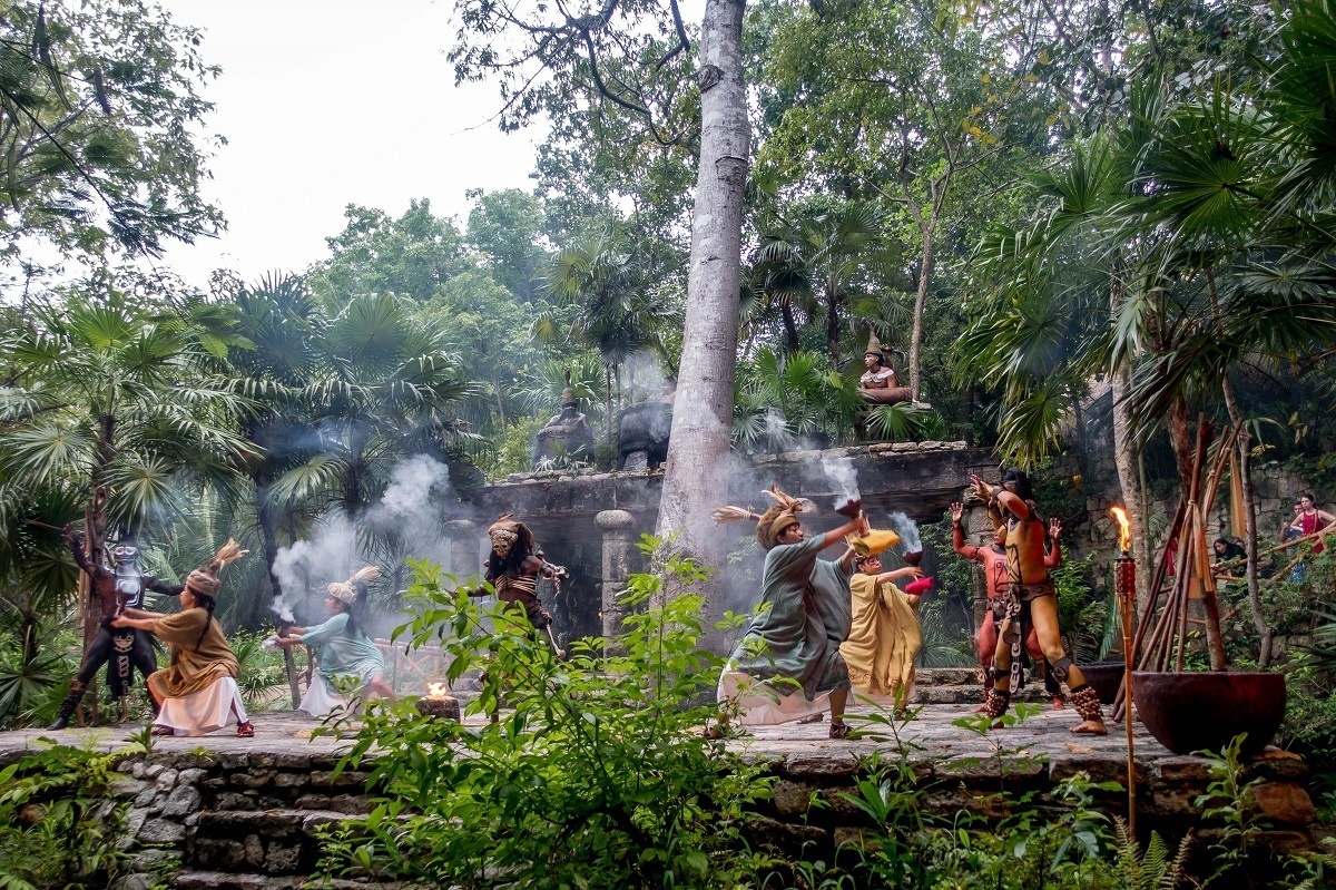 Actors performing the Polpo Vuh creation story in the Mayan village at Xcaret Riviera Maya
