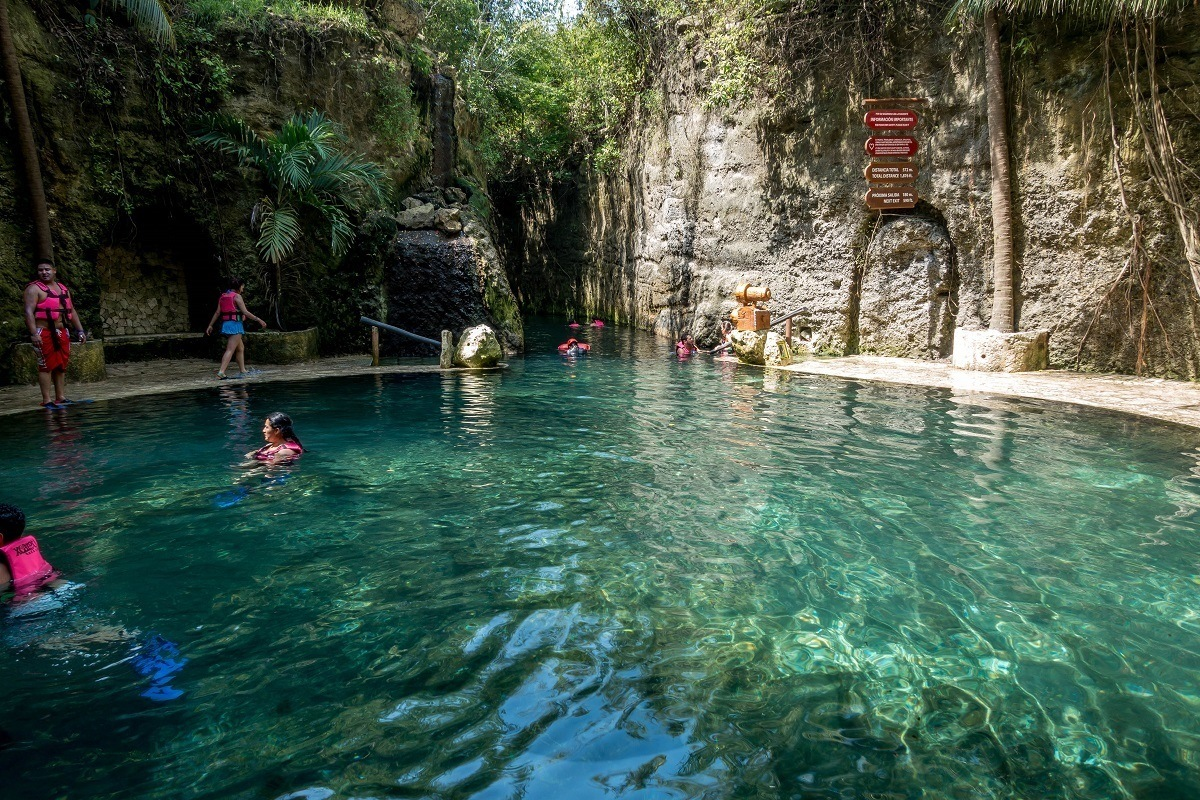 Entering The Blissful Xcaret Underground River In Playa Del Carmen Mexico A Day At