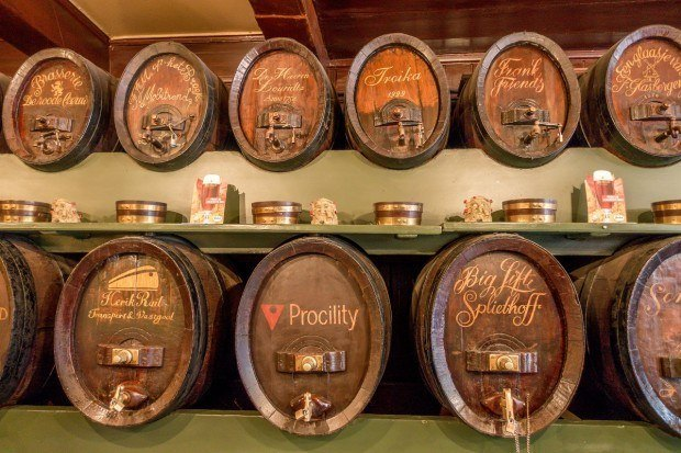 At De Drie Fleschjes, customers can buy a barrel to store their genever in the wall of the bar